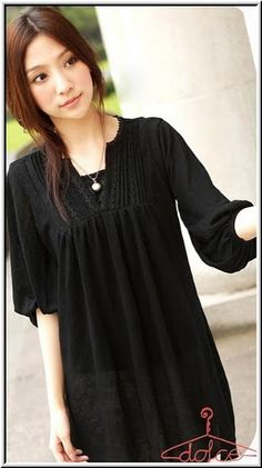 Angelirial Long Blouse Black