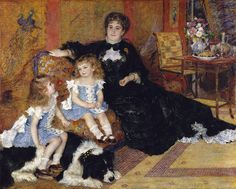 Auguste Renoir, (French, 1841–1919). Madame Georges Charpentier (née Marguérite–Louise Lemonnier, 1848–1904) and Her Children, Georgette–Berthe (1872–1945) and Paul–Émile–Charles (1875–1895), 1878. The Metropolitan Museum of Art, New York. Catharine Lorillard Wolfe Collection, Wolfe Fund, 1907 (07.122) | In the Japanese-style sitting room of her Parisian townhouse—the décor and chic gown testifying to her stylish taste—Marguerite Charpentier sits beside her son, Paul. #paris