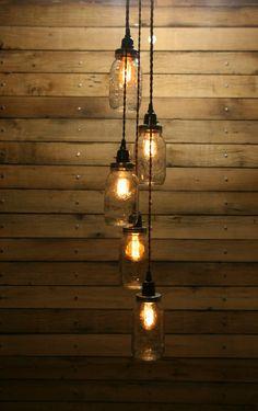 5 Jar Pendant Light - Mason Jar Chandelier Light - Staggered Length Hanging Mason Jar Hanging Pendant Light