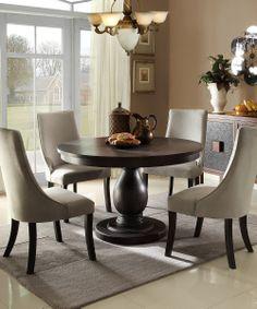 Gray Velvet Five-Piece Dining Set