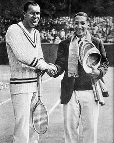 now this is how gentlemen dress for tennis. Rene Lacoste (right).