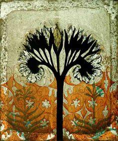 finnish painter, tile, black stem, fine art, trees, kirsi neuvonen, artsi thing, tree imag, flower
