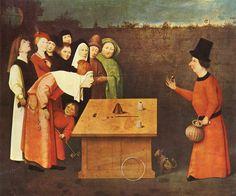 Hieronymous Bosch paints a scene of a Renaissance mountebank fleecing incredulous gamblers.  The Conjurer.  The Prestidigitator.  The Magician.