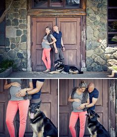 Love the gray paired with a pop of color. Couple's Maternity Session Attire.