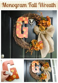 holiday, wreath fall, craft, polka dots, season, front doors, monogram fall, burlap bows, fall wreaths