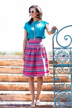 Summer style by @Shabby Apple skirt, summer style, summer outfits, color patterns, shabbi appl, bright colors