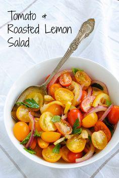 Tomato & Roasted Lemon Salad - A vibrant and fresh summer salad adapted from Ottolengi. | foxeslovelemons.com