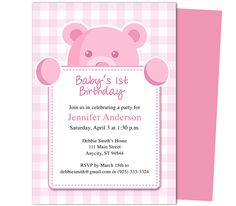 Beary Cute girl 1st Birthday Invitations Template. Templates for first birthday party easy to edit with Word, Publisher, Apple iWork Pages, OpenOfifce.
