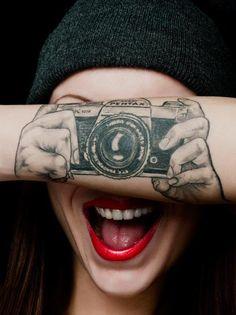 tattoo ideas, arm tattoos, tattoo photography, funny tattoos, awful tattoos, camera tattoo