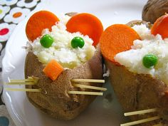 Three Blind Mice. BAKED POTATO MICE WITH RICE CARROT EARS AND NOSE PEA EYES AND PASTA WHISKERS.