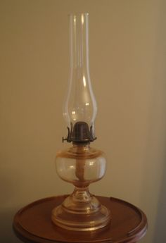 Antique Oil Lamp Pink Depression Glass