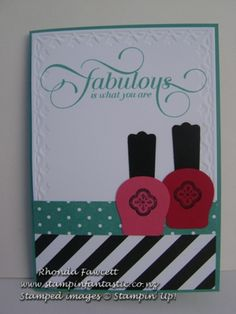 More punch art nail polish bottles. Uses the owl punch and modern label punch. Stampin' Up!