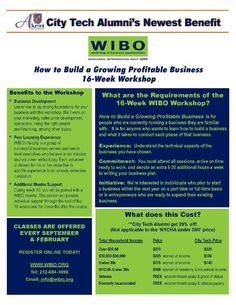 """City Tech discount on WIBO's, """"How to Build a Growing Profitable Business - Promo code:CITYTECH20"""