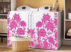 Appliances Love Decals, Too! These flocked flowers can easily transform an old washer and dryer in your laundry room into a beautiful set.