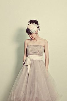 SALE Ready To Ship Strapless Tea Length Tulle Formal Dress by ouma, $680.00