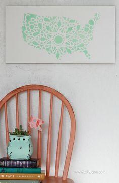 Pretty mint stencil United States sign, easy home decor tutorial. @Lauren Davison Jane Jane {lollyjane.com}