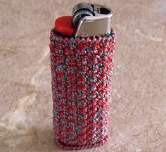 Thread Crochet Standard Size Bic Lighter Case Red And Aqua