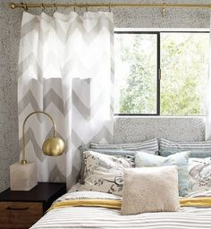 Grey chevron curtain #herstyle #tempurpedic #choiceisyours #inspiration #designsponge