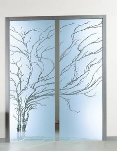 Products Glass Partition - Sliding Door - etched glass