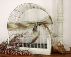 Vintage White Metal Birdcage-Shabby Chic French Country Home Decor