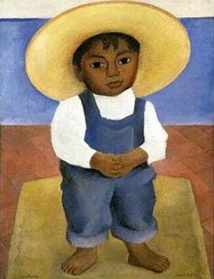 Diego Rivera (1886 – 1957, Mexican) Rivera is earlier than the typical big eyed kid art but perhaps he was part of the beginning.