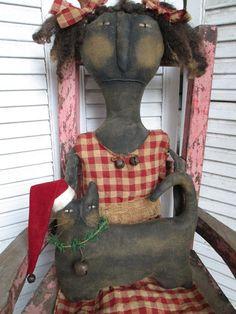 Primitive Grungy Folk Art Winnie Baker Doll w/Christmas Cat Set ~SMS #NaivePrimitive