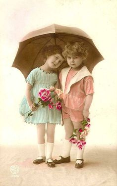 "Hand-tinted Photo. When the ""tradition"" of colors for girls and boys started, pink was for boys and blue was for girls."