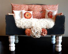 dog bed, cat bed, pet bed, dog, cat, pet, bed, luxury, shabby chic, lounger, free shipping, ORANGE BLOOM. $900.00, via Etsy.