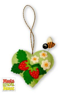 strawberri heart, hand embroidery, bees, felt hearts, diy tutorial, ornament, blossoms, flower, berries