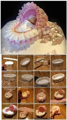 bassinet cake, cake tutori, babi bassinet, de fondant, cupcak tutori, tutorial fondant, cake decor, cribs, sugarcraft tutorial