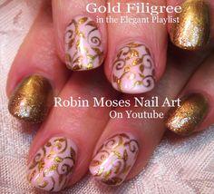 4 Nail Art Tutorials   DIY Fall Filigree Nails for beginners! Short nail...