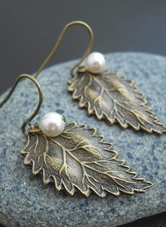 $14.50 #earrings #leaf #pearl