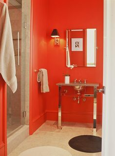 Energize your #bathroom with red walls. (Via @HGTV) #Colors #Decor