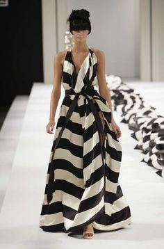 Black & white maxi dresses, black and white clothing, the dress, black white, runway fashion dresses, woman clothing, bangs, striped dress black and white, white gowns