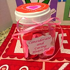 Considerate and Caring Heart Jar to for Daisy to earn their light green petal. They decorated the jar with stickers.  There are heart notes inside that they take a note each day to do something caring and considerate for someone.