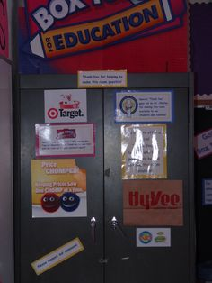 Thank our Sponsors!  This cabinet is a visual reminder to our students to thank and patronize all the people, companies and business'  that have helped to stock, decorate and help our new classroom.  This is one board that will be added to frequently. Many made his possible and I thank you!