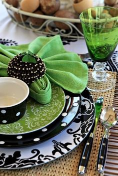 black and white with green accents