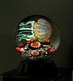 Passion Moon Jellyfish Glass Art by R Satava