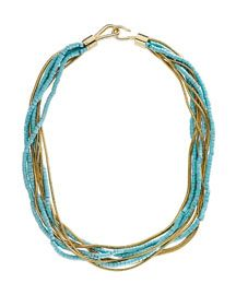 Michael Kors Turquoise Snake-Chain Multi-Strand Necklace $145