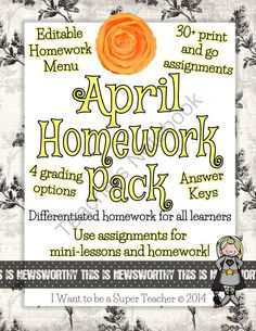 homework common, egg hunt, grade spring, common core, homework packet, homework menu, kindergarten homework, 2nd grade