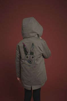 Sweet embroidered rabbit head parka jacket for fall 2014 kids fashion from Soft Gallery
