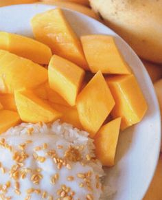Sweet Mango Sticky Rice with Coconut Milk. Lived off of this in Asia!