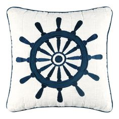 A cotton ship's wheel pillow is fun and whimsical. | $26.48