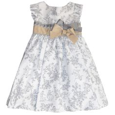 Grey Toile De Jouy Dress - Girl | Childrensalon