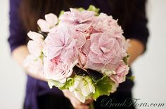 Pink romance French beaded flowers