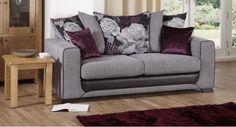 Danni 3 Seater Sofa Scatter Back #purple #sofas #trend