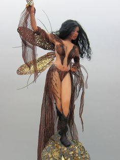 ooak Fairy art doll sculpture goth keeper of the zodiac sign