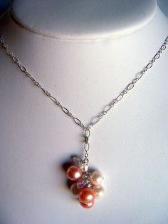Freshwater pearl and crystal necklace sterling