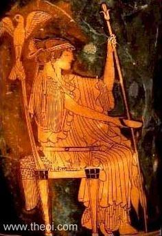 HERA was the Olympian queen of the gods and the goddess of women and marriage. She was also a goddess of the sky and starry heavens. She was usually depicted as a beautiful woman wearing a crown and holding a royal, lotus-tipped staff. Sometimes she held a royal lion or had a cuckoo or hawk as her familiar.