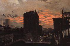 John Sloan (1871-1951). Twenty-third Street, Roofs, Sunset, 1906. Oil on canvas, 24-3/8 x 36-1/4 in. (62 x 93.1 cm). Joslyn Art Museum, Omah...